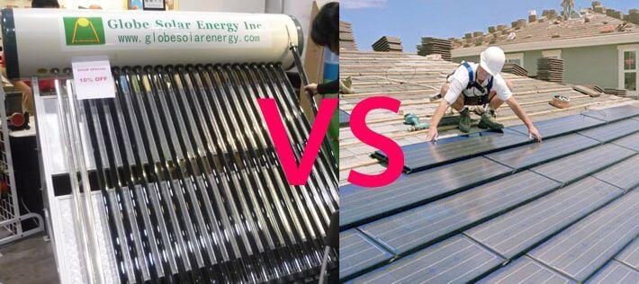 nước nóng năng lượng mặt trời và tấm pin năng lượng mặt trời
