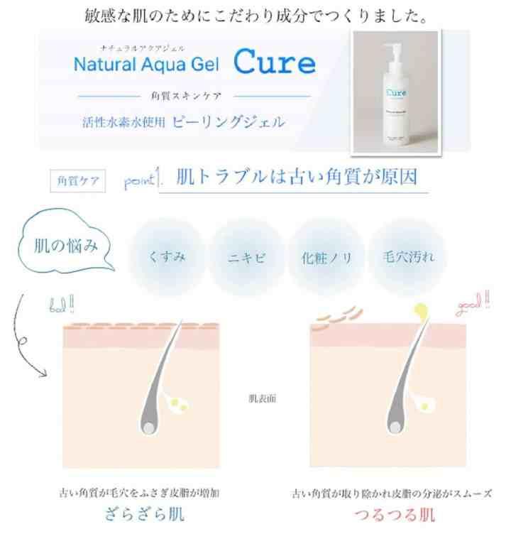 gel tẩy da chết Cure Natural Aqua không mùi, không màu rất được đánh giá cao về thành phần tinh khiết