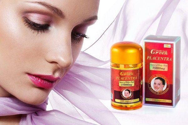 Nhau Thai Cừu Health Food Green giúp bạn sở hữu được làn da đẹp từ bên trong và làm mờ các vết thâm nám trên gương mặt