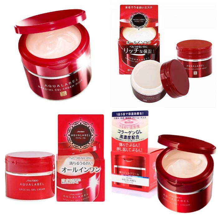 kem shiseido aqualabel-special-gel cream màu đỏ