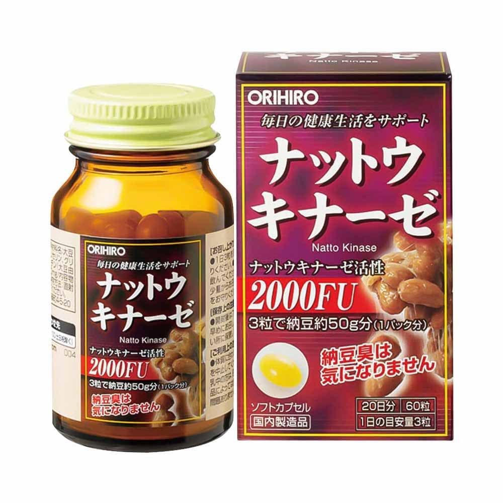 Viên uống Nattokinase 2000FU Orihiro hộp 60 viên