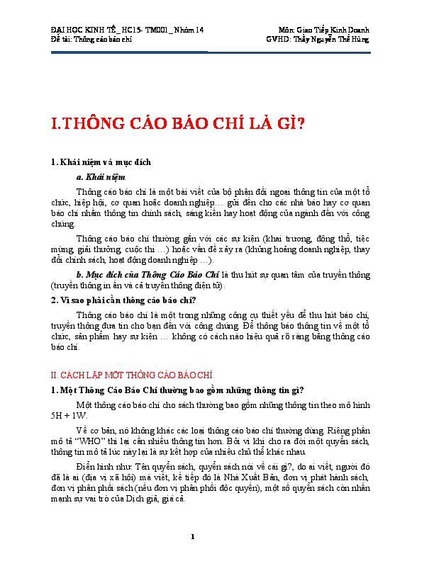 DOC) I.THÔNG CÁO BÁO CHÍ LÀ GÌ? | Nhu Nguyen - Academia.edu