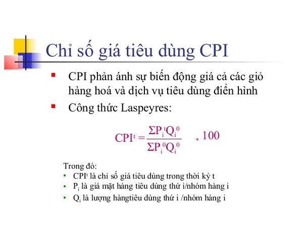 Công thức tính chỉ số giá tiêu dùng CPI